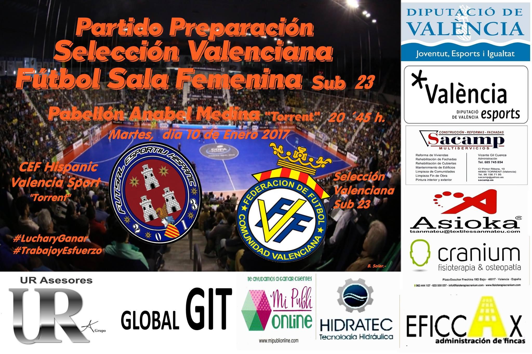 F tbol sala amistoso selecci n femenina sub 21 esportiu for Federacion valenciana de futbol