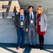 Salva Gomar, Miguel Ramón y Nieves Vila en la sede central de la FIFA, Zúrich